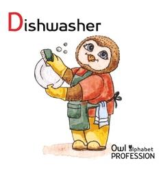 Alphabet professions Owl Letter D - Dishwasher vector image vector image