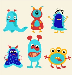 Cute cartoon monsters Icons Set vector image