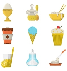 Lunch menu flat color icons vector image