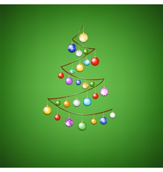 ribbon tree with bauble on green background vector image