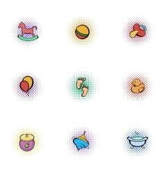 Things for baby icons set pop-art style vector image vector image