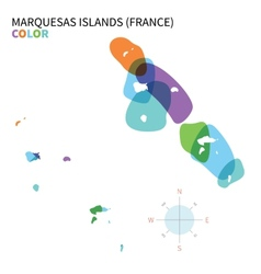 Abstract color map of Marquesas Islands vector image vector image