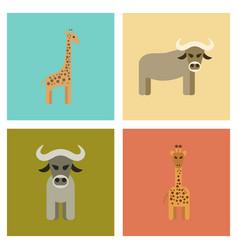 Assembly flat icons nature giraffe bull vector