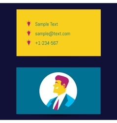 Business card template with man avatar vector image
