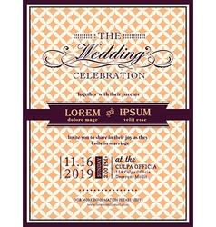 Ribbon banner Wedding invitation frame template vector image