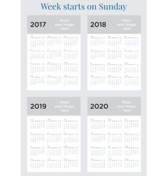 2017 Calendar planner Week starts on Sunday vector image
