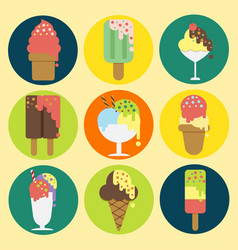 9 icons collection of ice cream design vector
