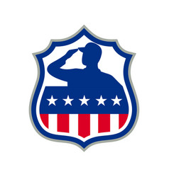 American soldier saluting usa flag crest icon vector