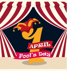 april fools day 1 number hat carnival vector image