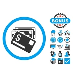 Banknotes and Card Flat Icon with Bonus vector