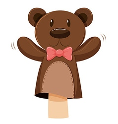 Bear hand puppet with pink bow vector