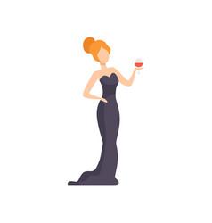 beautiful woman in elegant black dress standing vector image