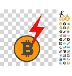 Bitcoin shock thunderbolt icon with bonus vector