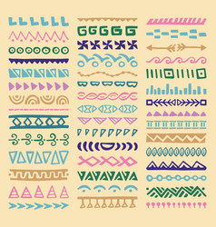 Borders collection in ethnic style vector