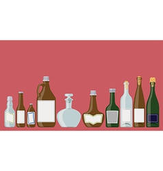 Bottles set alcoholic beverages vector