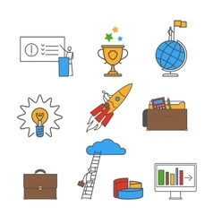 Business flat line icon set vector image