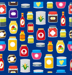 cartoon canned and jar food seamless pattern vector image