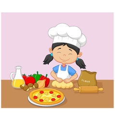 Cartoon little girl baking vector