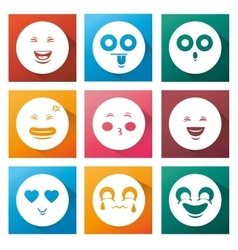 Cartoon set smile emoticons vector