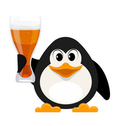 Cartoon style penguin with a glass of beer on a vector