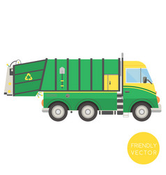 cartoon transport garbage truck vector image