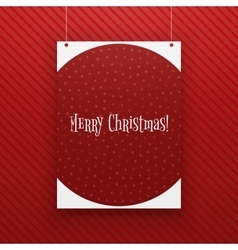 Chistmas paper page hanging against red background vector