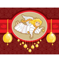 christmas card angel bell vector image