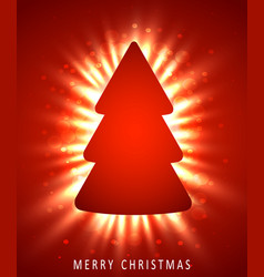christmas tree made of red paper on red background vector image