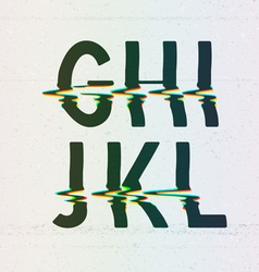 CMYK Print Distortion Font from G to L vector image