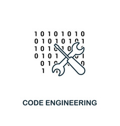code engineering outline icon thin line style vector image