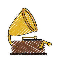 Color crayon stripe image old gramophone musical vector