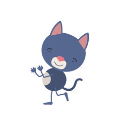Colorful caricature with cute cat dancing vector