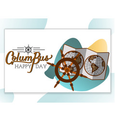 columbus day poster with map and helm symbol vector image