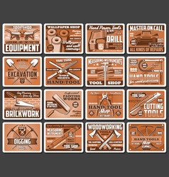 Construction and diy tools retro posters vector