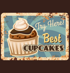 cupcake dessert rusty metal plate vector image