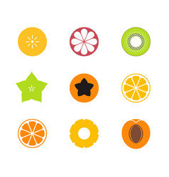 Cut fruit icon set vector