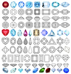Cut precious gem stones set vector