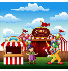 cute a clown and a girl on the circus entrance vector image