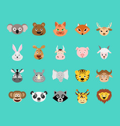 Cute cartoon animal head icon set vector