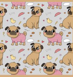 cute cartoon pug pattern cheerful funny dog vector image