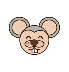 Cute mouse face kawaii style vector