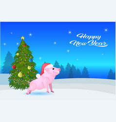 cute pig red hat near fir tree decorated colorful vector image