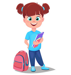 cute redhead girl with books in casual clothes vector image