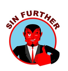 Devil shows well Sign all right Sin Further Thumbs vector image