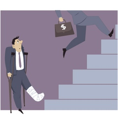Disable person and a career ladder vector