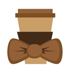 disposable coffee cup with bowtie vector image