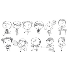 Doodle design of kids playing with the different vector image