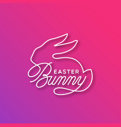 Easter bunny linear lettering vector