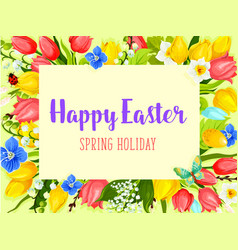 easter flowers greeting card with floral frame vector image