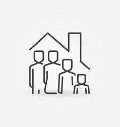 Family in house outline icon - stay at home vector